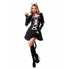 Костюм - Гламурная киса Le Frivole, L/XL,   Эта гламурная киска знает, что нравится котам!  Эротичный костюмчик: короткое платьице с хвостом, ушки, накидка, украшение на шею и перчатки.