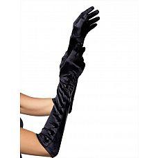 Перчатки на кнопках Satin Gloves  Длинные атласные перчатки черного цвета на кнопочках.