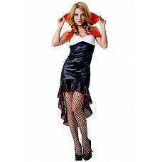 Костюм Готической вампирши - Le Frivole, S/M,   Очень прикольный наряд вампирши - яркое, контрастное платье с высоким воротником.