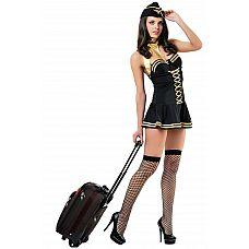 Костюм Милая Стюардесса - Le Frivole, S/M, Черный  Костюм состоит изплатья,шарфика,головного убора,чулок в сетку.
