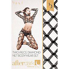 Чулок на тело из двух частей  Экстравагантный чулок на тело Тайваньo Piece Diamond Net Bodystocking - для смелых личностей, не знающих границ.