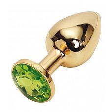 Золотистая металлическая анальная пробка с зеленым стразом - 7,6 см.  Металлическая анальная пробка, основание которой декорировано блестящим кристаллом.