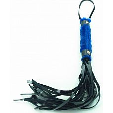 Плеть из лака с синим мехом BDSM Light - 43 см.  Интересное сочетание меха и лаковых деталей в этой плети покорят вас.