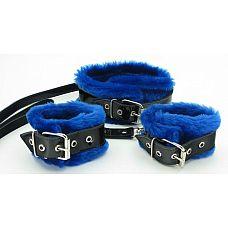 Набор оков с синим мехом BDSM Light  Яркий, блестящий меховой набор из наручников и ошейника с поводком.