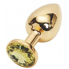 Золотистая анальная пробка с желтым кристаллом - 7,6 см.  Металлическая анальная пробка, основание которой декорировано блестящим кристаллом.