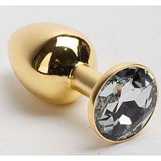 Золотистая анальная пробка с белым кристаллом - 7,6 см.  Металлическая анальная пробка, основание которой декорировано блестящим кристаллом.