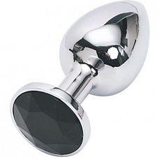 Серебристая анальная пробка с черным кристаллом - 7,6 см.  Металлическая анальная пробка, основание которой декорировано блестящим кристаллом.