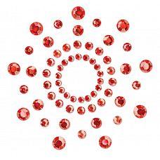 Красные наклейки на грудь Mimi Bijoux  Изысканные наклейки на соски Mimi - это выбор настоящих аристократов! Камень - это всегда стильно, сдержанно и в то же время благородно.