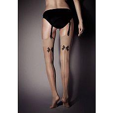 Чулочки с бантиками Calze Lolita - 15 den  Чулочки с темной линией по задней стороне ножки и игривыми бантиками.