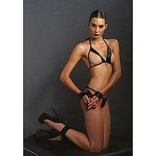 Комплект белья с аксессуарами для бондажа  Провокационный комплект из ткани с эффектом мокрой кожи.