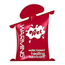 Разогревающий лубрикант Wet Warming Gel Lubricant - 10 мл.  Высококлассный  лубрикант с эффектом тепла.