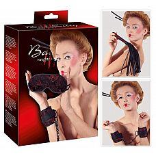 БДСМ-набор из трех предметов Asia-Erotik-Set  БДСМ-набор из трех предметов Asia-Erotik-Set: наручники, плеть и маска на глаза из кружев.
