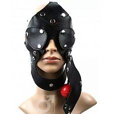 Разъёмная шлем-маска с кляпом  Разборная маска ручной работы изготовлена из натуральной кожи.