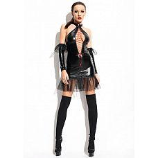 Платье Martha (Mistress collection), S/M, Черный  Строгое, но при этом игривоеплатье из ткани, визуально напоминающей латекс.