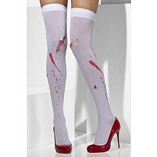 Чулки с имитацией пятен крови  Непрозрачные белые чулки на резинке, с красными пятнами, имитирующими кровь.