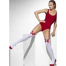 Чулки медсестрички с красными бантами  Белые чулочки на резинке, украшенные красными бантами, станут прекрасным дополнением к костюму медсестры.