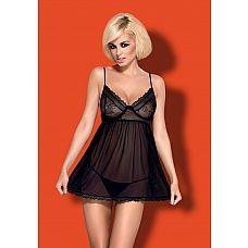 Сорочка бэби-долл Favoritta на тонких бретелях  Легкая соблазнительная сорочка, через которую просвечиваются миниатюрные трусики-стринги.