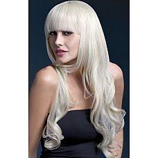 Парик блондинки с челкой и кудряшками Yasmin   Парик цвета блонд с длинными волосами позволит вам создать образ соблазнительной блондинки.