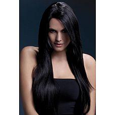 Темноволосый парик с косой чёлкой Amber  Длинные черные волосы парика помогут создать образ соблазнительной и роковой красавицы, которая не знает отказа ни в жизни, ни в сексе.