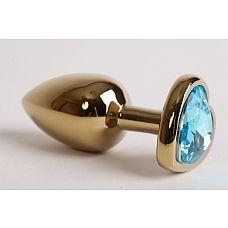 Анальная пробка золото 7,5 х 2,8 см с сердечком голубой страз размер-S 47194-MM