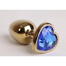Анальная пробка золото 7,5 х 2,8 см с сердечком синий страз размер-S 47190-MM