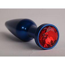 """Анальная пробка металл 11,2х2,9см  синяя с красным 47197-1-MM  """"Металлическая пробка с ограничительным основанием для безопасного использования."""