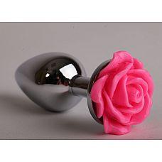 Анальная пробка металл 9,5х4 см с розой розовая размер-L 47181-2-MM