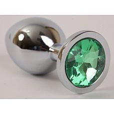 Анальная пробка серебряная с зеленым кристаллом 9,5х4см 47046-2-MM
