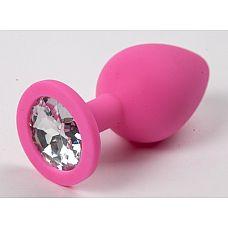 Пробка силиконовая розовая с прозрачным стразом 8,2 х 3,5 см 47129-MM