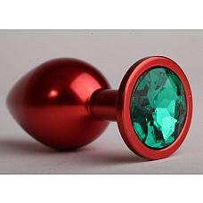 Красная анальная пробка с зеленым стразом - 6,9 см.  Металлическая пробка с ограничительным основанием для безопасного использования.
