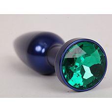 Большая синяя анальная пробка с зеленым стразом - 11,2 см.  Металлическая пробка с ограничительным основанием для безопасного использования.
