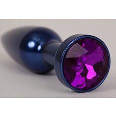 Большая синяя анальная пробка с фиолетовым стразом - 11,2 см.  Металлическая пробка с ограничительным основанием для безопасного использования.