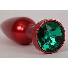 Большая красная анальная пробка с зеленым стразом - 11,2 см.  Металлическая пробка с ограничительным основанием для безопасного использования.