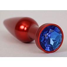 Большая красная анальная пробка с синим стразом - 11,2 см.  Металлическая пробка с ограничительным основанием для безопасного использования.