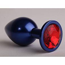 Синяя анальная пробка с красным кристаллом - 6,9 см.  Металлическая пробка с ограничительным основанием для безопасного использования.