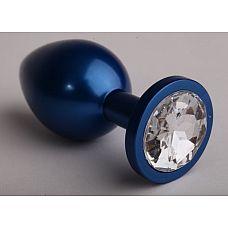 Синяя анальная пробка с прозрачным кристаллом - 6,9 см.  Металлическая пробка с ограничительным основанием для безопасного использования.