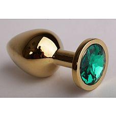 Золотистая анальная пробка с зеленым кристаллом - 9,5 см.  Металлическая пробка с ограничительным основанием для безопасного использования.