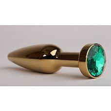 Золотистая анальная пробка с зеленым кристаллом - 11,2 см.  Металлическая пробка с ограничительным основанием для безопасного использования.