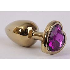 Золотистая анальная пробка с фиолетовым стразиком-сердечком - 7,5 см.  Металлическая пробка с ограничительным основанием для безопасного использования.