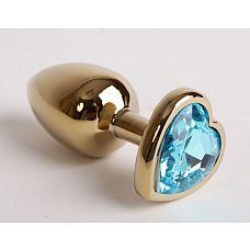 Золотистая анальная пробка среднего размера с голубым стразиком-сердечком - 7,5 см.  Металлическая пробка с ограничительным основанием для безопасного использования.