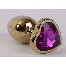 Золотистая анальная пробка с фиолетовым стразиком-сердечком - 8 см.  Металлическая пробка с ограничительным основанием для безопасного использования.