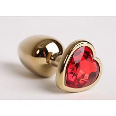Золотистая анальная пробка с красным стразиком-сердечком - 8 см.  Металлическая пробка с ограничительным основанием для безопасного использования.