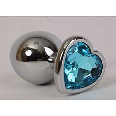 Золотистая анальная пробка с голубым стразиком-сердечком - 8 см.  Металлическая пробка с ограничительным основанием для безопасного использования.