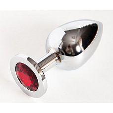 Серебристая анальная пробка с красным стразом - 9,5 см.  Металлическая пробка с ограничительным основанием для безопасного использования.