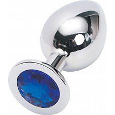 Серебристая анальная пробка с синим стразом - 9,5 см.  Металлическая пробка с ограничительным основанием для безопасного использования.