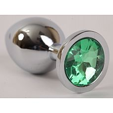 Серебристая анальная пробка с зеленым стразом - 9,5 см.  Металлическая пробка с ограничительным основанием для безопасного использования.