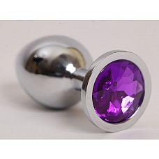 Серебристая анальная пробка с фиолетовым стразом - 9,5 см.  Металлическая анальная пробка, основание которой декорировано блестящим кристаллом.