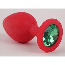 Красная силиконовая пробка с зеленым кристаллом - 9,5 см.  Силиконовая пробка мгновенно принимает температуру тела или окружающей среды - поэтому она всегда приятно тёплая на ощупь.