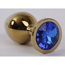 Золотистая анальная пробка с синим кристаллом - 9,5 см.  Металлическая анальная пробка, основание которой декорировано блестящим кристаллом.