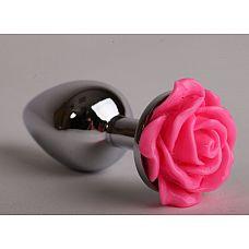 Серебристая анальная пробка с розовой розочкой - 8 см.  Металлическая пробка с ограничительным основанием для безопасного использования.